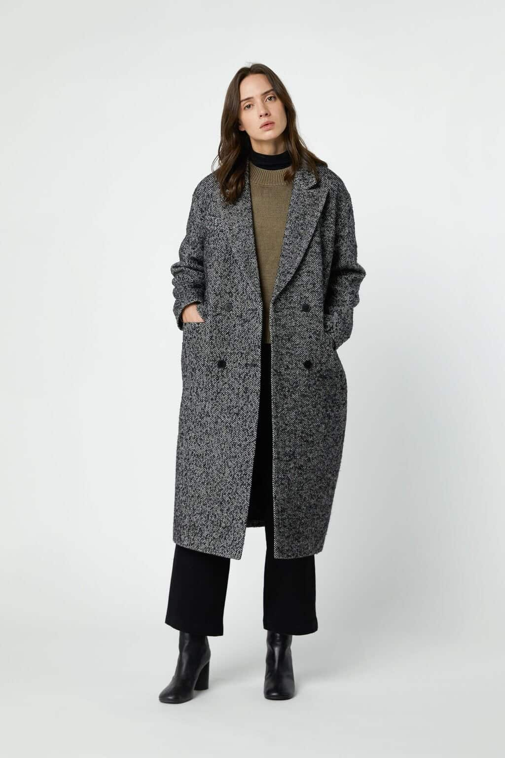 Coat 2891 Black Herringbone 3