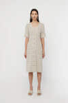 Dress 3159 Beige Grid 2
