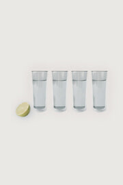 TALL GRAY GLASS CUP SET OF 4 thumbnail